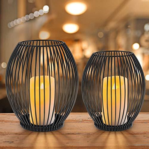 innislink Kerzenständer 2er Set, Metall Kerzenhalter Oval Kerzenleuchter Windlicht Schwarz Vintage Kerzen Ständer Teelichthalter für Deko Wohnzimmer Tischdeko Weihnachts Hochzeit -14 x 15cm, 16 x 18cm