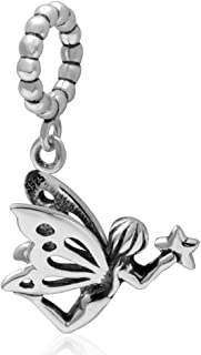 ICYROSE Solid 925 Sterling Silver Dangling Fairy Holding a Star Bead Charm 3366 for European Snake Chain Bracelets