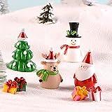 Weihnachtsaccessoire aus Kunstharz, für Puppenhaus, Feengarten, Miniatur-Schneemann, Weihnachtszubehör, Weihnachtsbaum, Weihnachtsmann-Figuren (Schneemann 6) - 6