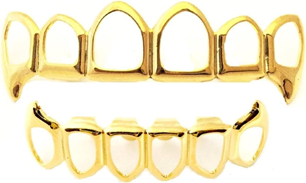 Big Dawgs Bling Hip Hop 14K Gold Plated Open Face Fangs Grillz Set with at-Home Mold Kit