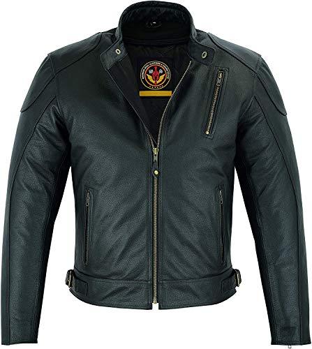 Warrior Gears Chaqueta de piel para hombre, protección premium CE Armadura de Nappa de piel de vacuno de cuerpo corto Chaquetas de moto para hombres, chaqueta de cuero negro (9x_l)