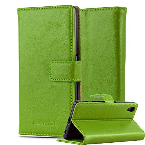Cadorabo Hülle für Sony Xperia Z5 in Gras GRÜN – Handyhülle mit Magnetverschluss, Standfunktion & Kartenfach – Hülle Cover Schutzhülle Etui Tasche Book Klapp Style