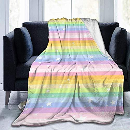 L.Fenn Manta Mantas Suaves y cálidas para Ropa de Cama Estrella Arcoiris para sofá Cama Sofá Decoración para el hogar Etc 50 * 60inch