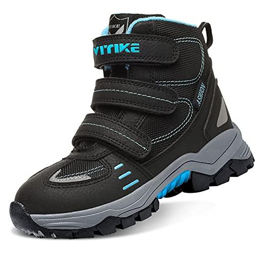 VITIKE Chaussures en Coton pour Enfants Bottes de Neige d'hiver Chaussures de randonnée Garçon Walking Trekking léger Outdoor Sporty Shoes Bottes d'escalade, 3-noir, 39 EU