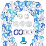 MELLIEX 120 Piezas Globos de Confeti Globos de Latex Kit de Guirnaldas de Globos con 10 Accesorios para Globos para Decoracion de Boda Cumpleaños Fiesta San Valentin, Blanco y Azul