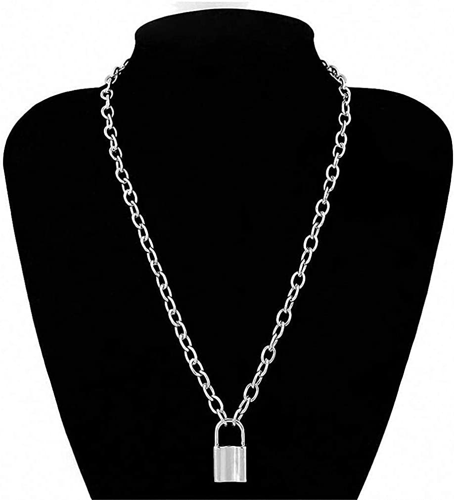 Womens Pendant Necklace 1pc Punk Jewelry Gold Silver Color Padlock Pendant Necklace Stainless Steel Chain Necklace