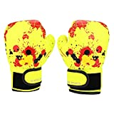 Bnineteenteam Kids Boxing Gloves, Children Cartoon MMA Sparring Gloves PU Leather Boxing Training Gloves for Kids Aged 2-11 Years Old(Yellow)
