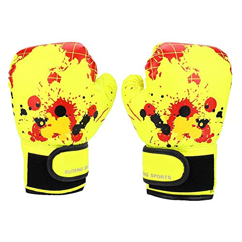 SolUptanisu 1 para Kinder Box-Handschuhe Punch Training Kampf Mitts Sparring Boxhandschuhe für Mädchen Jungen Kinder (Blau, Rosa, Gelb Optional) (Gelb)