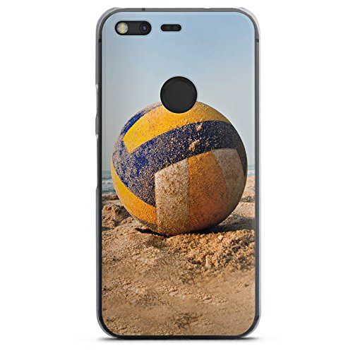 DeinDesign Hard Case kompatibel mit Google Pixel XL Schutzhülle transparent Smartphone Backcover Volleyball Sand Hobby