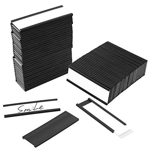 Meetory - Lote de 30 soportes magnéticos para etiquetas de 1 x 3 pulgadas, con tiras de repuesto para estante de metal, taquilla, pizarra blanca
