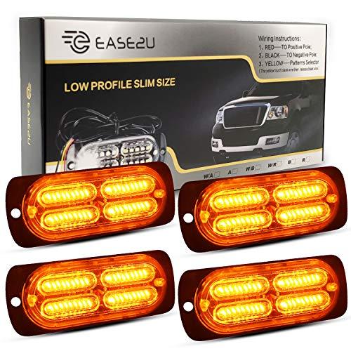 12-24V 40 LED Super Bright Emergency Warning Caution Hazard Construction Waterproof Amber Strobe Light Bar with 32 Different Flashing for Car Truck SUV Van - 4PCS (Amber)