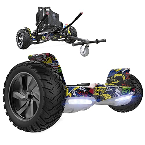 GeekMe Patinete Eléctrico Todo Terreno de 8,5 '' Scooter Equilibrado con Potente Motor Bluetooth + Hoverkart Accesorio para Patinete Eléctrico (Hip+Black Kart)