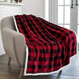 PAVILIA Buffalo Check Sherpa Blanket Throw | Red Black Checkered Flannel Fleece Blanket | Christmas Plaid Warm Plush Microfiber Blanket for Couch Sofa | 50x60 Inches