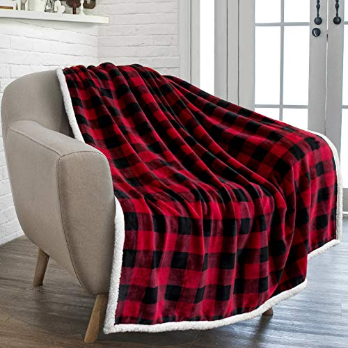 PAVILIA Buffalo Plaid Sherpa Blanket Throw | Fuzzy Red Black Checkered Flannel Fleece Blanket for Couch Bed | Fluffy Warm Soft Christmas Plush Microfiber Blanket | 50x60