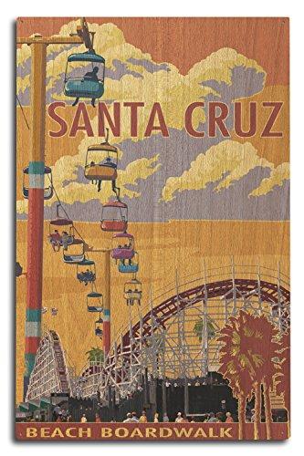 Lantern Press Santa Cruz, California - Beach Boardwalk (10x15 Wood Wall Sign, Wall Decor Ready to Hang)