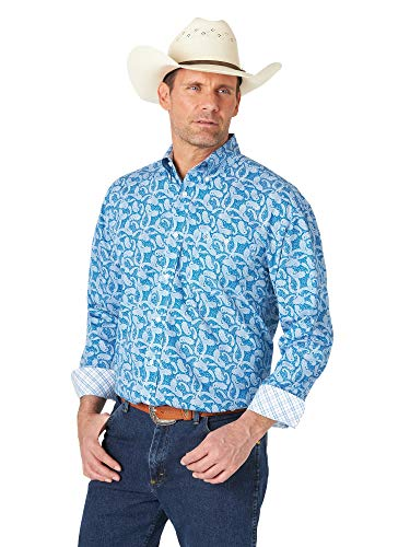 Wrangler Men's George Strait Long Sleeve Button Woven Shirt, Blue, Small