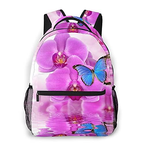 SXCVD Lässiger Rucksack,Schöne lila Orchidee mit Schmetterlingen Morpho Reflexion auf Wassersp,Business Laptop Rucksack Schultasche,Wanderreise Tagesrucksack für Herren,Damen,Teenager