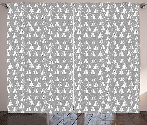ABAKUHAUS Kerstboom Gordijnen, sneeuwvlokken Achtergrond, Woonkamer Slaapkamer Raamgordijnen 2-delige set, 280 x 260 cm, Pale Taupe en Vermilion