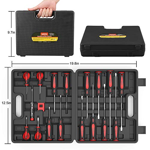 Magnetic Screwdriver Set 18 PCS, XOOL Professional Cushion Grip 9 Phillips and 7 Flat Head Tips Screwdriver Non-Slip for Repair Home Improvement Craft