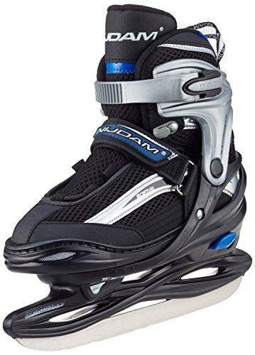 Nijdam Kinder Eishockeyschlittschuhe Iceskater Icehockey Schlittschuhe größenverstellbar, Schwarz-Silber-Blau, 38-41