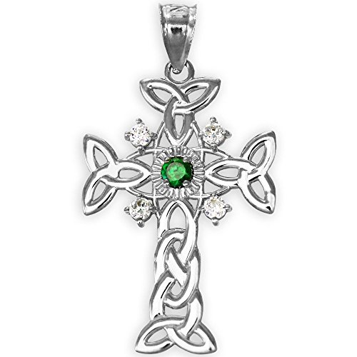 14k White Gold Celtic Knot Trinity Cross Diamond Pendant with Genuine Emerald