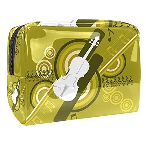 Bolsas de cosméticos a prueba de agua, bolsa de aseo retro de viaje, bolsa de maquillaje con cremallera para mujeres, bolsa organizadora de piscina de playa, Guitar Music, 18.5x7.5x13cm/7.3x3x5.1in,