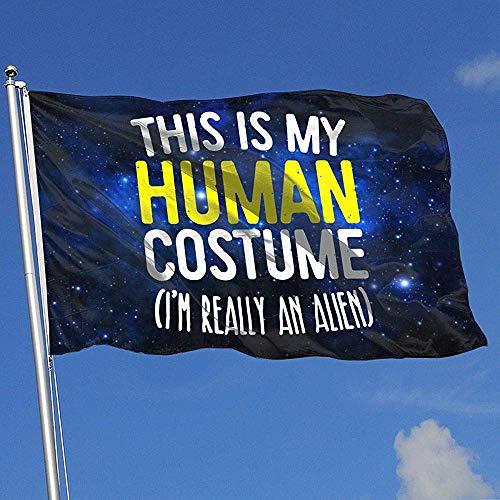 qinzuisp Yard Vlag Dit Is Mijn Menselijke Kostuum Polyester Kleurrijke Breeze Vlag Welkom Achtertuin Huis Banner Tuin Vlag Levendige 150X90Cm