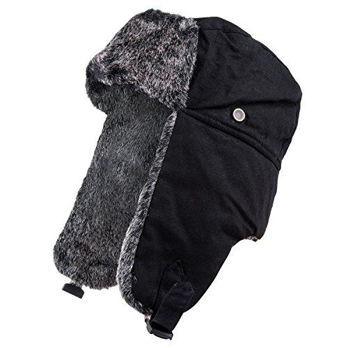 Pierre Cardin Men's Trapper Hat (Faux Fur Black, 2XL)