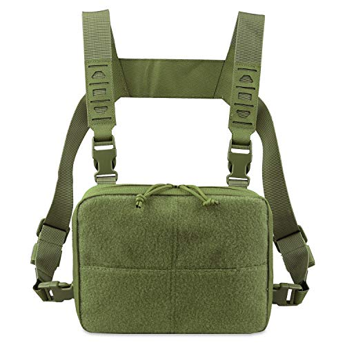 AMYIPO Tactical Combat Chest Pack Molle Vest Bags Front Admin Pouch Equipment Multi-Purpose EDC Utility Recon Kit Bag Utility Pouches Modular Attachment Military Multi-Purpose Daypack (Army Green)