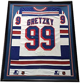 Wayne Gretzky Autographed Signed Rangers Pro Game Jersey Framed Auto HOF Uda Authentic Fight Strap