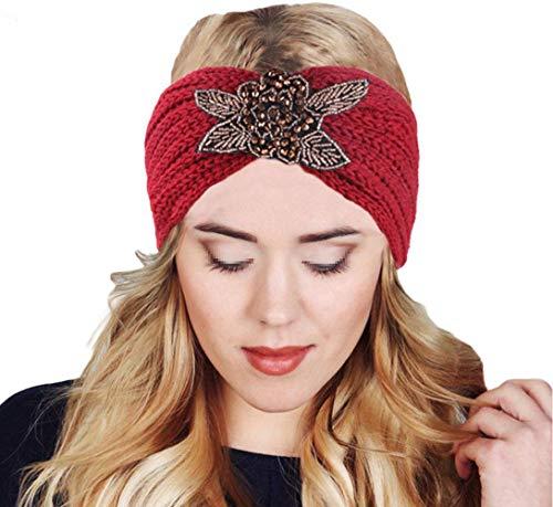 MoreChioce Bandeau Cheveux Tricoté,Femme Hiver Bandeaux Strass Perles Headband Elastique Tricot Hairwear Chaud Headwrap Hair Bande Accessoires,Fleur Vin Rouge