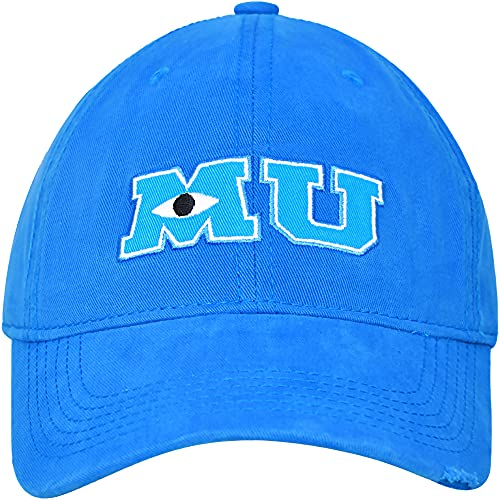 Disney Pixar Monsters University MU Adult Cotton Adjustable Hook and Loop Baseball Hat with Curved Brim, Navy Blue, One Size