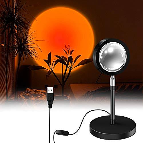 Sunset Projection Lamp, LED Rotación 180° Romántico Visual Proyector de puesta de sol, USB lámpara de pie moderna, lámpara de noche para salón (Rojo Atardecer)