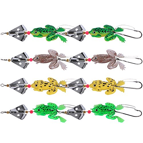 Goture Rubber Frogs Soft Fishing Lures Bait Set Bass CrankBait Tackle 9cm_3.54'_6.2g Spinner Spoon Lures