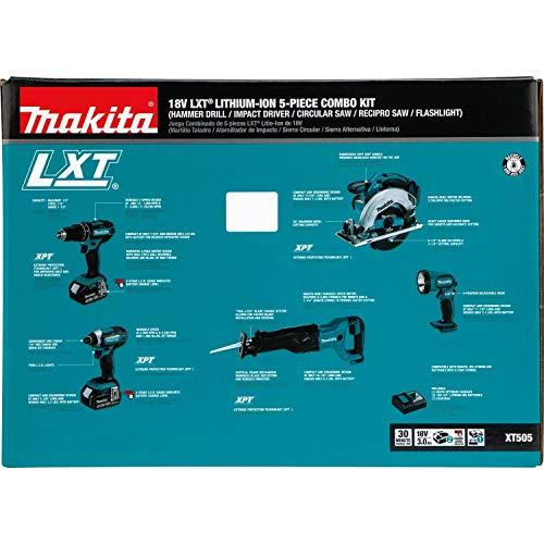 Makita XT505 18V LXT Lithium-Ion Cordless 5-Piece Combo Kit (3.0Ah)