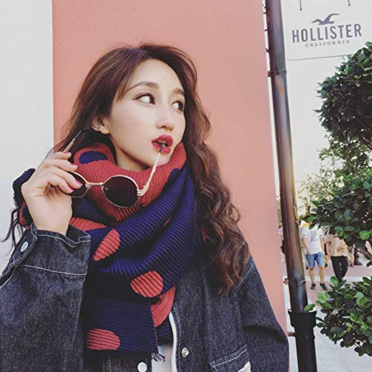 Warm Winter Scarf Autumn and Winter Thick Warm Pleated Scarf Female Winter Ladies Shawl Fashion Wild dot Winter Big (color   pink) Neck Scarf