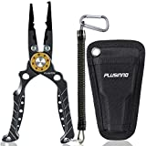 PLUSINNO 8 Inch Fishing Pliers, 6061 Aluminum Alloy Saltwater and Freshwater Muti-Function Fishing Tools, Mono, Fluoro & Braid Line Cutters,with Sheath and Lanyard