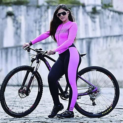 Damen Trikot Sets Radanzug Einteilig Langarm Lange Hose Fahrradrennen Triathlon Radfahren Mit Taschen/9D Gel Pad (Color : 1, Size : XXXX-Large)