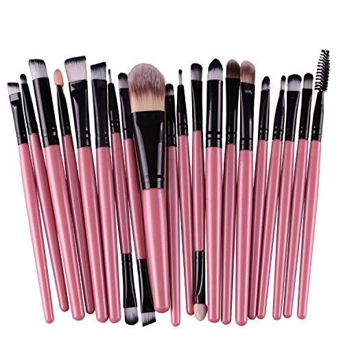 Gshy Professional 20 pièces Maquillage Set de Brosse Kit cosmétique Set de Brosse de Maquillage Marque de Laine (Rose)