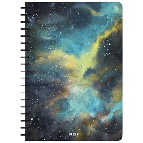 Siixu Spiral Journal, B5 Colorful Lined Notebook, Memo Field Note book to Write in, College Ruled Paper, Elegant Novelty Celestial Design, 136 Pages, Large, Black, Star Rover