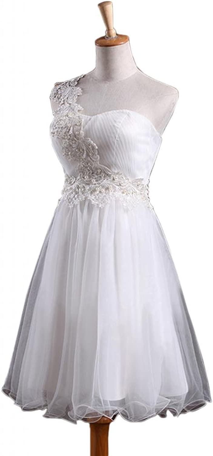 Angel Bride Knee Length OneShoulder Appliques Homecoming Party Dresses