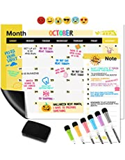 WOTEK A3 Pizarra Magnética Nevera, Calendario Magnetico para Nevera Semanal Mensual (1*A3 Planificador, 1* A5 Planificador, 6 * Pluma de Pizarra, 6 * Iman de Emoji y 1 * Borrador de Pizarra) de Pet