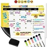 WOTEK A3 Pizarra Magnética Nevera, Calendario Magnetico Nevera Semanal Mensual (1*A3 Planificador, 1* A5 Planificador, 6 * Pluma de Pizarra, 6 * Iman de Emoji y 1 * Borrador de Pizarra) de Pet