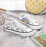 Sallypan Chaussures de Toile Belle Licorne Rainbow Impression Baskets Confortables Automne Mode Femmes Chaussures à Lacets,whiteLowtop,39