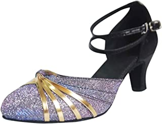 Fainosmny Mid-High Heel Pumps Fashion Buckle Strap Single Shoes Womens Ballroom Latin Tango Rumba Dance Shoes Sandals