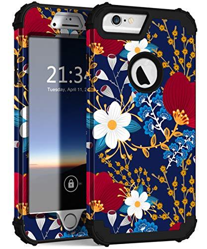 Hocase for iPhone 6s Plus Case/iPhone 6 Plus Case, Heavy Duty Shockproof Hard Plastic+Soft Silicone Rubber Protective Case for iPhone 6s Plus/6 Plus (5.5' Display) - Creative Flowers