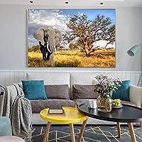 現代の動物のポスターとプリント壁アート絵画アフリカゾウとナソーンの写真リビングルームの家の装飾(70x100cm)フレームレス