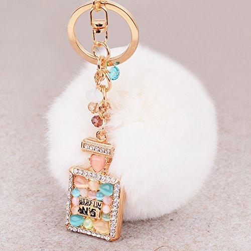 Cute Schlüssel Schlüsselanhänger Neuheit Kaninchen Pelz Ball Charm Parfüm Flasche Schnalle Kette für Handtasche Key Ketten Anhänger White Perfume Bottle