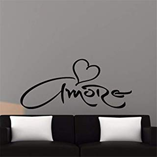 Guduis Wall Stickers Vinyl Words Sayings Removable Lettering Italian Version Amore Heart Wall Sticker Love for Bedroom Decoration