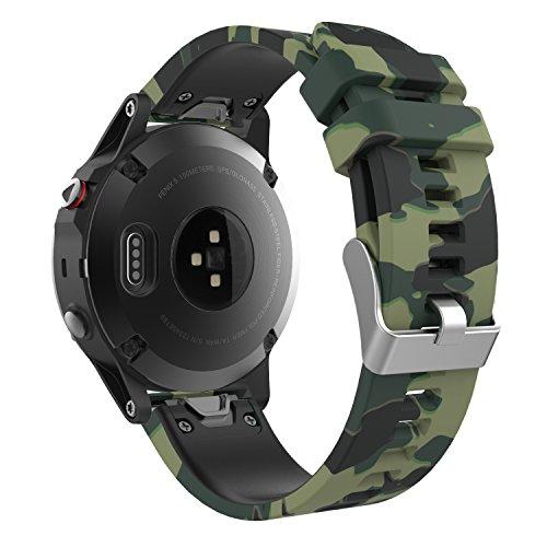 MoKo 22mm Correa Compatible con Garmin Fenix 5/5 Plus/6/6 Pro/Forerunner 945/935/Approach S62/S60/Quatix 6/Garmin Instinct/MARQ, Banda de Silicona de Reemplazo - Camuflaje